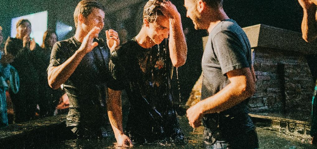 Man being baptised